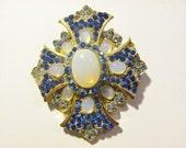 Vintage Swarovski Crystal Victorian Cross in Blue