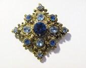 Vintage Swarovski Crystal Diamond-Shaped Brooch in Shades of Blue