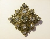 Vintage Swarovski Crystal Victorian Diamond-Shaped Brooch in Clear Crystal