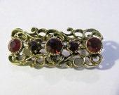 Vintage Swarovski Bar Brooch with Ruby Red Crystals