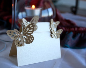 Wedding Name Place Cards Blank Escort Place Table for Calligraphy Pearl Paper, Swarovski Crystals and Butterfly - for Wedding, shower