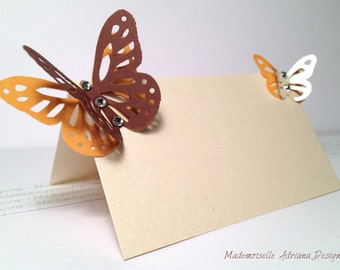 Blank Escort Place Table Name Card for Calligraphy Pearl Paper, Swarovski Crystals and Butterfly - for Wedding or any other party or shower