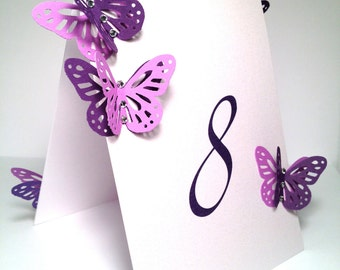 Folded Double Sided Table Numbers Card Table Tag with Butterflies and Crystals