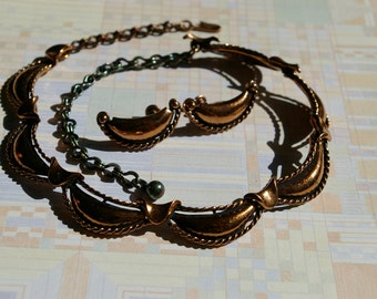 Vintage Copper STAR Demi Parure - Swag Style - Earrings and Necklace- 1950's