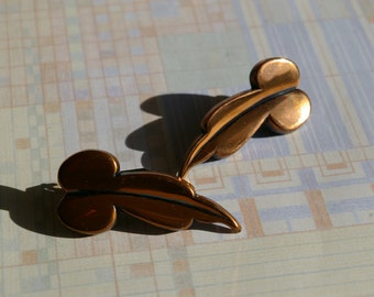 "Vintage Copper Renoir Earrings - ""Madeira"" - Spring Back Clips - 1950's"