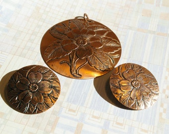 VIntage Copper Demi Parure - Pendant and Earrings- Wild Rose Pattern - Very Special - 1960's