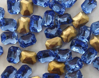 8x6mm Czech crystal Octagon Stones in Light Sapphire. 1dz.