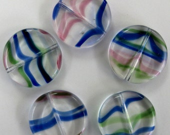 Vintage 17mm Disc Beads in Glass with Ribbons of Color.  1 dz.