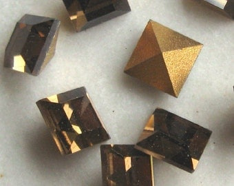 Smoke Topaz 6mm Square PB Glass Stones.  1 dz.