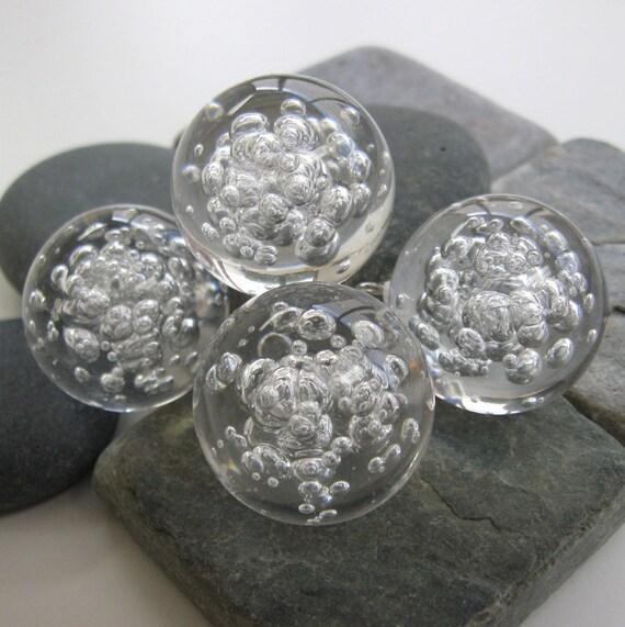"""Vintage Plastic 1"""" Bubble Balls with Loop.  4 pcs."""