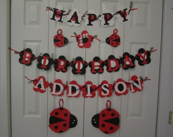Personalized lady bug birthday banner