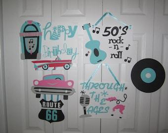 50's style Birthday banner