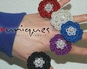 CROCHET RING - Metallic Crochet Flower Ring - Green - HANDMADE Ring - 925 Sterling Silver - Adjustable ring