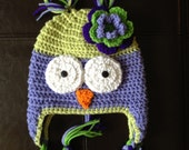 Toddler Owl Crochet Hat with Braided Tassels Boy Girl Photo Prop Made to Order