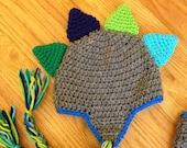 Dinosaur Crochet Hat Photography Prop  Made to Order Newborn Baby
