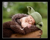 Yoda crochet Beanie Baby Hat Made to Order Treasury Item Priority shipping
