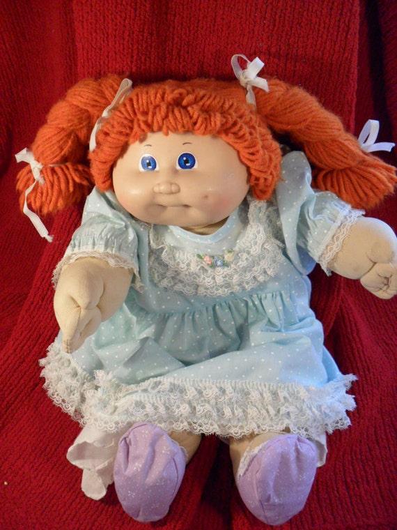 1985 cabbage patch kid doll red hair in ponytails vintage. Black Bedroom Furniture Sets. Home Design Ideas