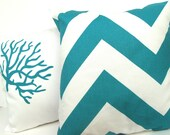 """Decorative Throw Pillow Cover - HOLIDAY SALE 20% off - Thick Teal Chevron on White - 16"""" x 16"""""""