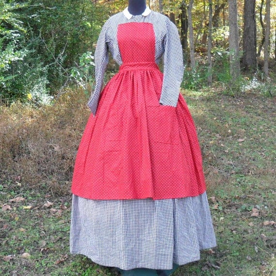 Reproduction Civil War Era Mid 19th Century Red Printed Cotton Pinner Apron