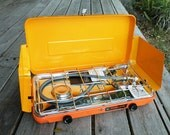 Awesome Rare Sears Deluxe 2 Burner Propane Camping Stove Vintage Yellow Orange 70s