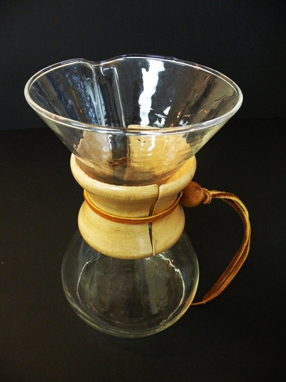 Chemex Pyrex Vintage Glass Coffee Maker Wooden Collar Rawhide Lace 40s 50s