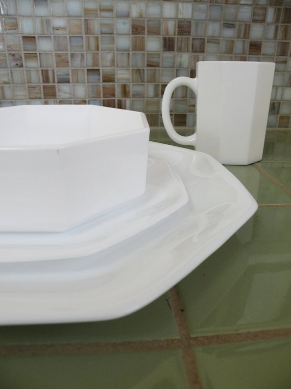 RESERVED FOR PLANBBRIDE // Service for Four Pure White Octagonal Glass Dinnerware Arcopal of France