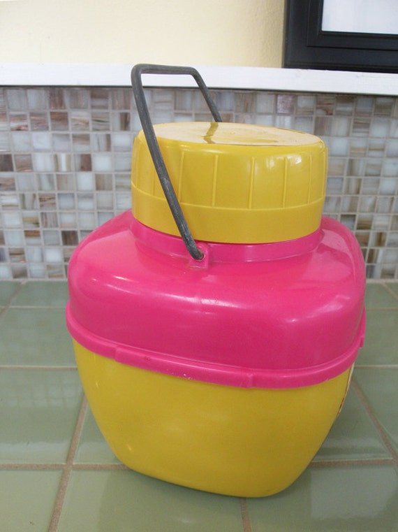 Thermos Insulated Picnic Lunch Cooler Carrier in Pink and Mustard