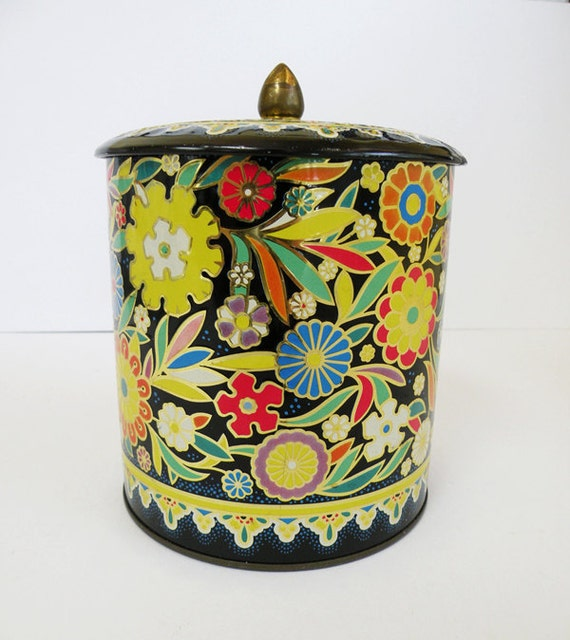 RESERVED FOR STACIE // Floral Groovy Colorful Can With Lid and Brass Knob Made in England