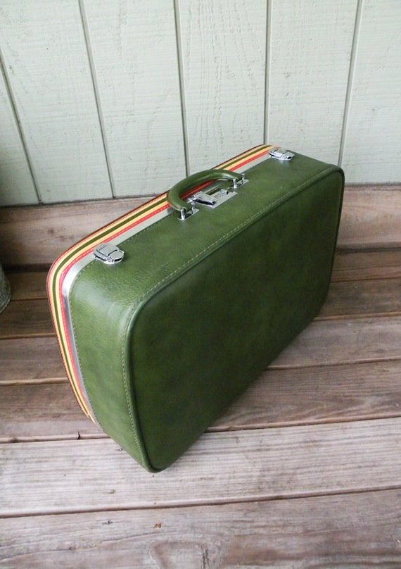 Green Ventura Suitcase With Sporty Red and Yellow Stripes