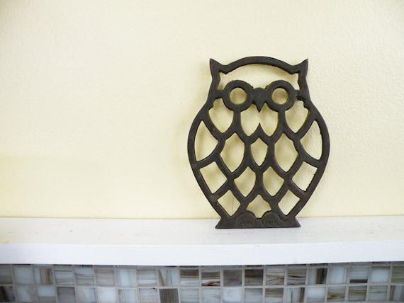 RESERVED FOR MARIE // Smart Little Brass Owl Trivet