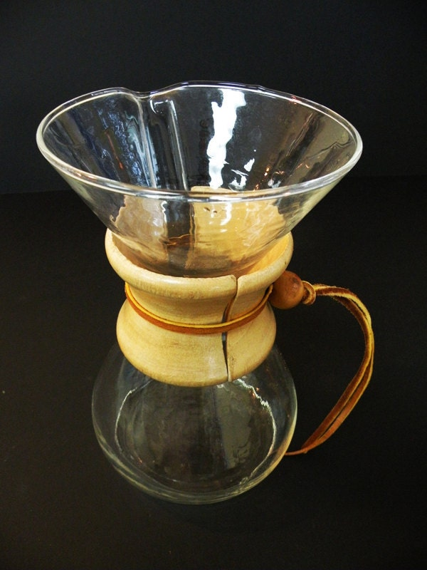 Chemex Pyrex Vintage Glass Coffee Maker Wooden Collar Rawhide
