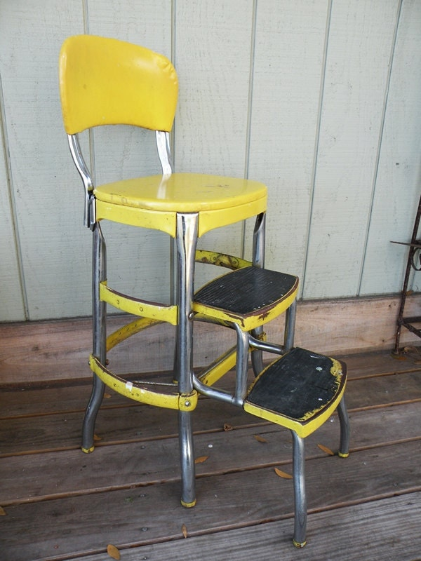 Cosco Chair With Step Stool Yellow Mid Century By