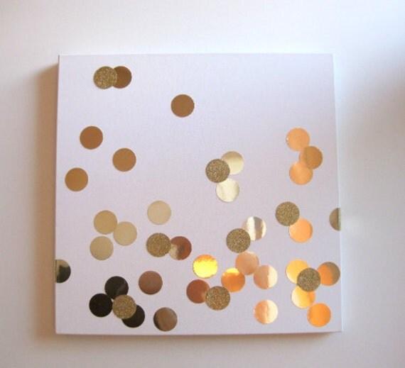 """24"""" Gold Glitter Confetti Boxed Canvas Art"""