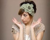 Funky Crochet Headband - Mint Green Choco Chip Dbl Flower Headwrap/Earcover - Retro Inspired Womens Fashion- Valentines Day Gift Idea