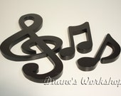 "15"" treble clef set, decoration, home decor, musical note decoration, wooden music note, black,"