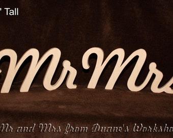 "6"" Wooden Mr and Mrs Photography prop, Wooden Alphabet Letters, DIY, Engagement, Wedding Decor, Wedding, Mr & Mrs"