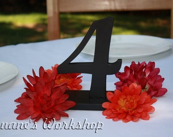 "6"" Customizable Wedding Table Numbers on stands bases Wooden, Wedding reception, Painted"