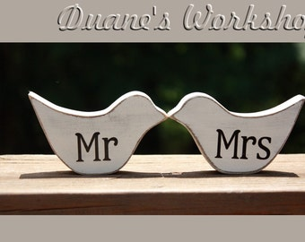 Wooden wood Bird,mr and mrs, custom, love birds, Shelf Art, shower favors, wedding, nursery decor, home decor,spring decor