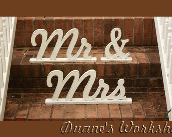 Wooden painted Mr and Mrs on bases, Mr and Mrs on stands, Wooden Alphabet Letters, Engagement, Wedding Decor, Wedding, Mr & Mrs