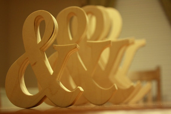 """Wooden Ampersand Photography prop, 6"""" Wooden Alphabet Letters, DIY, Engagement, Wedding Decor, Photography Props, Wedding"""