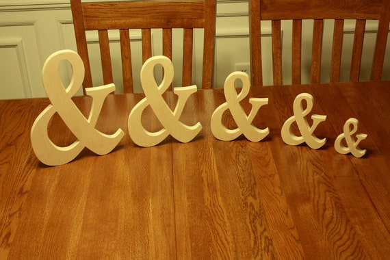 """12"""" wooden Ampersand Photography prop, Wooden Alphabet Letters, Engagement, Wedding Decor, Photography Props, Wedding,"""