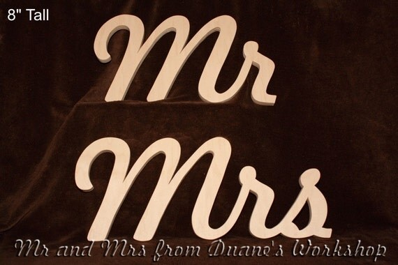 "8"" Wooden Mr and Mrs Photography prop, DIY, Engagement, Wedding Decor, Wedding, Birthday, Decor, Mr & Mrs"