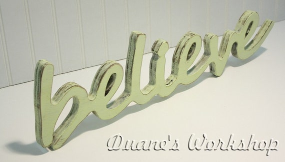 Wooden Words Wall Art : Believe sign wall hanging shabby chic cottage wooden