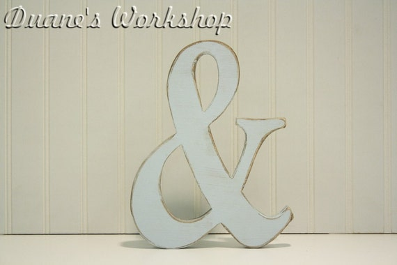 "8"" Wooden Ampersand Painted, Wooden Alphabet Letters, DIY, Engagement, Wedding Decor, Photography Props, Wedding"