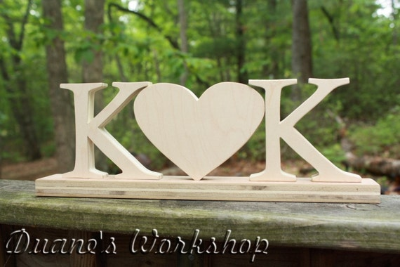 """Personalized 4""""  Wooden Letters and Heart Wedding center piece, DIY, Engagement, Wedding Decor, Photography Props, Wedding"""