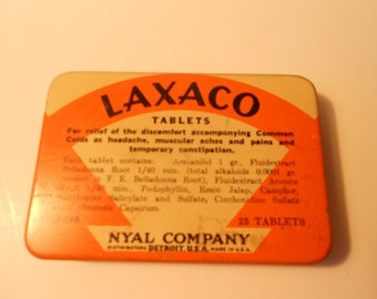 Vintage Tin of Laxco Tablets