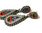 RESERVED Vintage '50s Micromosaic Floral Dangle Earrings, Post Closure