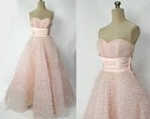 Vintage 50s Pink Wedding Dress, Tiered Tulle XS / S