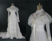 1970s Vintage Tiered Lace Wedding Dress, Long Sleeves S / M