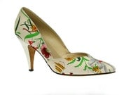 Size 37.5 7.5 Authentic Vintage Gucci Flora High Heels, White Canvas & Leather 1960s